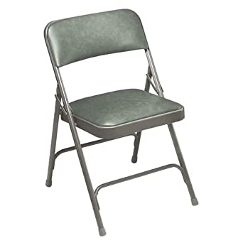 National Public Seating 1200 Series Steel Frame Upholstered Premium Vinyl Seat and Back Folding Chair with Double Brace, 480 lbs Capacity, Warm Gray/Gray (Carton of 4)