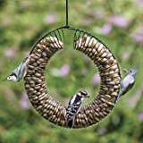 Peanut Wreath, Black Color, Feeder wire coil is on wire ring with hanger, Fill with whole peanuts