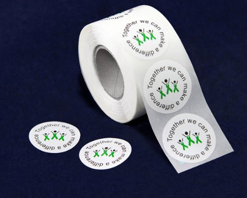 Green Ribbon Stickers - Difference (500 Stickers)