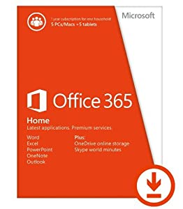 Microsoft Office 365 Home 1 Year Subscription | 5 Devices, 5 Users | PC Download