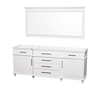 Wyndham collection berkeley 80 inch double bathroom vanity in white with no countertop and no for 70 inch double bathroom vanity