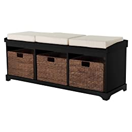 Product Image Entryway Bench with 3 Baskets/Cushions - Black