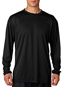 A4 N3165 Adult Cooling Performance Long Sleeve Crew - Black - S
