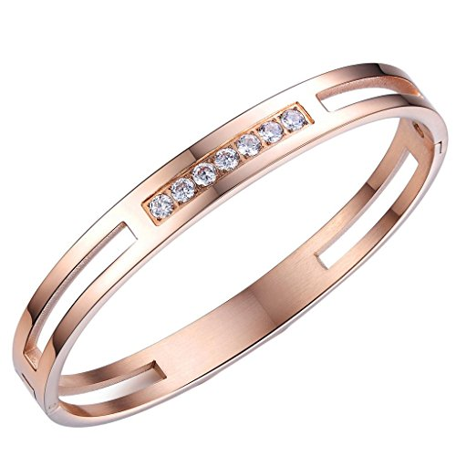 Fr His And Her Polished Rose Gold Stainless Steel Cz Bracelets Cuff,Men