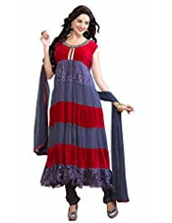 Trendz Apparels Grey And Red Net Brasso And Velvet Anarkali Suit Salwar Suit