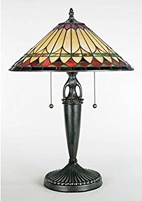 Quoizel TF6821VB, Tiffany Small Glass Table Lamp, 2 Light, 130 Total Watts, Bronze