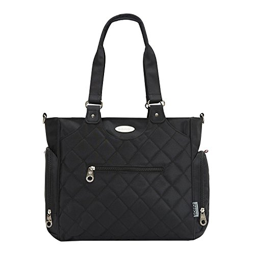 SoHo diaper bag Tribeca 9 pieces nappy tote bag for baby mom dad stylish insulated unisex multifunction travel large capacity durable includes changing pad stroller straps mesh organizer Black
