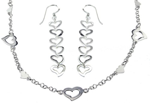 Silver Set of Multi Heart Necklet and Earrings
