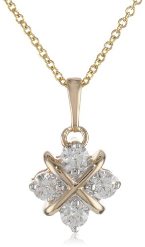14k Yellow Gold Diamond Hugs and Kisses Pendant Necklace (.38 cttw, H-I Color, I1-I2 Clarity)