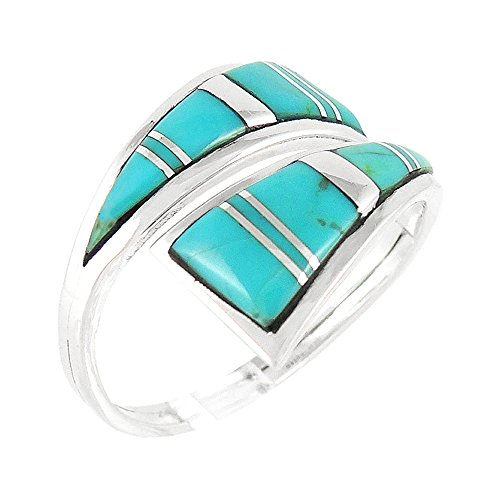 925 Sterling Silver Ring with Genuine Turquoise Sizes 6 to 11 (10) (Silver Turquoise Ring compare prices)