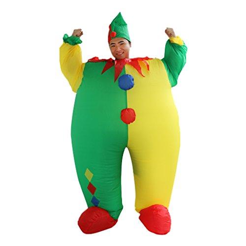 Generic Adult Clown Suit Inflatable Blow Up Men Joker Costume Fancy Dress Suit Outfit