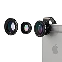 Camera Lens, Vinsic® Universal Detachable 180°Fish Eye Lens Wide Angle Lens Micro Lens 3 in 1 Camera Lens Kits for iPhone 6 6s plus 5 5s 5c 4s ipad