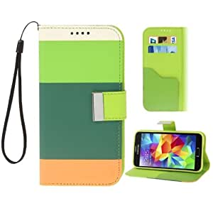 Colorful Stripe Pattern Magnetic Buckle Leather Case with Credit Card Slots & Holder & Lanyard for Samsung Galaxy S5 G900