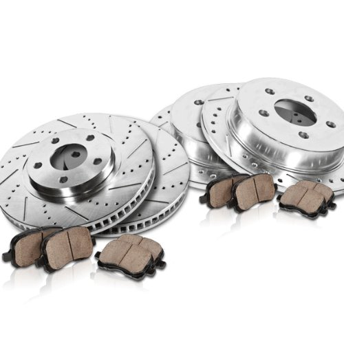 Callahan Front + Rear Performance Drilled/Slotted [4] Rotors + [8] Quiet Low Dust Ceramic Brake Pads Kit CFRXPJ15053
