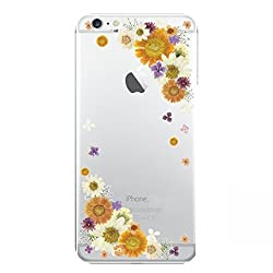 Hamee Designer Case from Japan Thin Fit Crystal Clear Transparent Protective Plastic Hard Cover for iPhone 6 Plus / 6s Plus (Small Flower Border / Yellow and White)