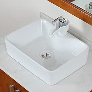 Rectangle Whtie Porcelain Ceramic Vessel Sink & Ceramic Faucet Combo ...