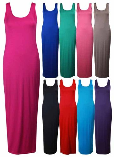 Ladies New Plain Sleeveless Full Length Round