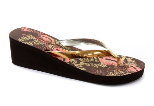 Cheap Dunlop Eva Shiny Toe Post Wedge Brown Womens Flip Flops (B00864QYNE)