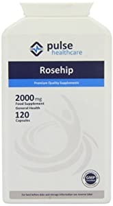 Pulse Healthcare 2000mg Rosehip Premium Quality GMP Supplement - Pack of 120 Capsules