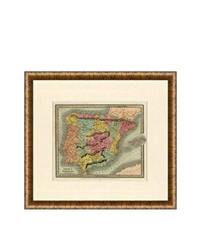 Map Antiquities Antique Map Of Spain & Portugal, 1934, Multi