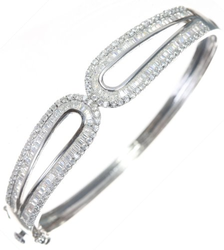 Beautiful 925 Sterling Silver Ladies Bangle with Cubic Zirconia/CZ - 6cm*7mm, 15 Grams