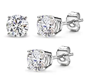 3.00 Carat Total Weight 7.50 mm Each Round Cubic Zirconia Earrings.Set On High Quality Heavy Settings. Nickel Free (Platinum Rhodium) Finish