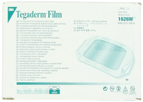 3M Tegaderm Transparent Film Dressing, Picture Frame Style, with Label, 4″ x 4 3/4″, 1626W Box of 50