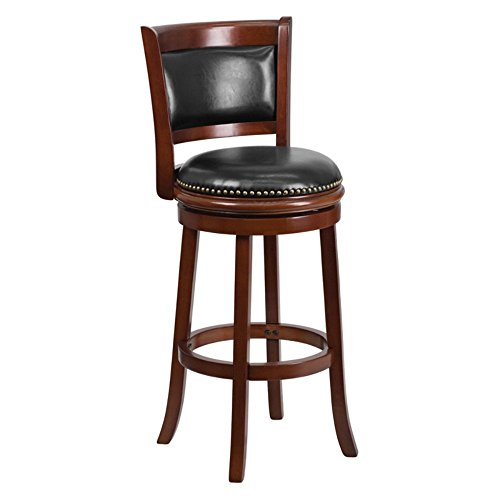Flash Furniture TA-61029-CHY-GG Cherry Wood Bar Stool with Black Leather Swivel Seat, 29-Inch