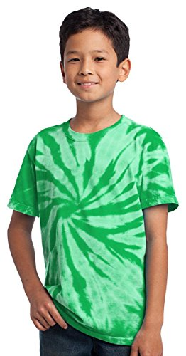 Port & Company Youth Essential Tie Dye Crewneck T-Shirt_Kelly_Small