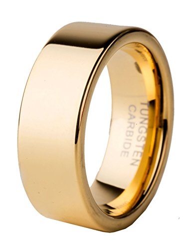 8mm Mens Tungsten Carbide Flat Gold Ring Comfort Fit Wedding Band Polish Finished (9)