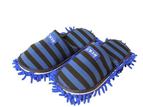 和と風 掃除もできちゃう マイクロファイバー モップ スリッパ 履くだけ楽々取り外し可能 (青と黒のボーダー, L(25cm~27cm))