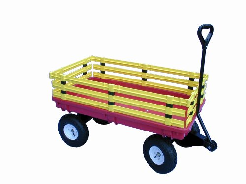 Millside-Industries-Trekker-Wagon-with-Yellow-Removable-Poly-Rack-Set