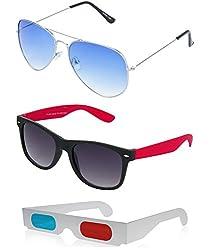 Hrinkar Aviator Blue Lens Silver Frame, Wayfarer Grey Lens Black Frame & Paper 3D Glass - HCMB047