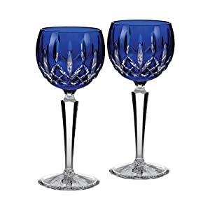 Waterford crystal lismore cobalt blue hock wine glasses pair new in waterford box - Wedgwood crystal wine glasses ...