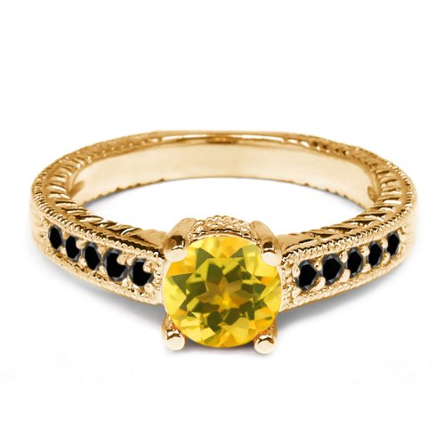 0.33 Ct Round Yellow Citrine Black Diamond 925 Yellow Gold Plated Silver Ring