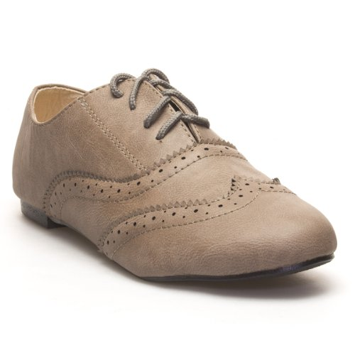 Iynx Womens Gina Lace Up Oxford Flat Shoes, Taupe Beige Pu Leather, 8.5 B (M) Us