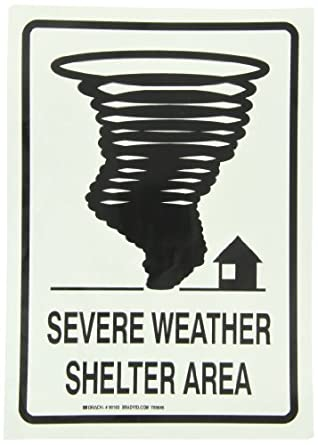 """Brady Black On Green Color Glow-In-The-Dark Exit And Directional Sign, Legend """"Severe Weather Shelter Area (With Tornado Picto)"""""""