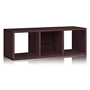 Way Basics Eco 3 Cubby Storage Bench and Stackable Organizer, Espresso (made from sustainable non-toxic zBoard paperboard)