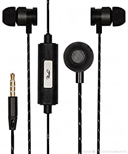 Premium 3.5mm In Ear Bud Handsfree Headset Earphones With Mic Compatible For Alcatel Flash Plus 2 -Black