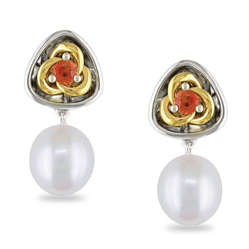 Sterling Silver 1/2 CT TGW Orange Sapphire Freshwater White Pearl Dangle Earrings