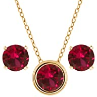 3.00 Ct 6mm Round Red Created Ruby 14…