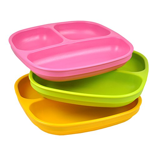 Re-Play 3 Count Divided Plates, Pink, Green, Sunny Yellow