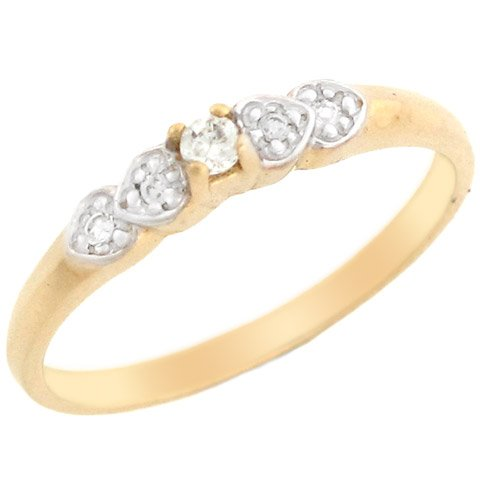 14k Two-tone Gold Pretty Diamond Promise Ring with Side Heart accents
