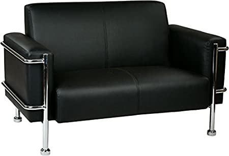 Love Seat In Eco Leather with Chrome Accents
