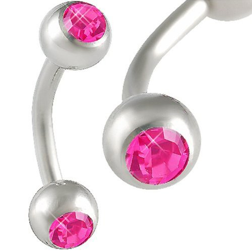 Eyebrow Rings 16G Curved Barbell Tragus Rook Piercing Jewelry 16 Gauge 1.2Mm, 5/16 Inches 8Mm Long - Surgical Steel Lip Bars Ear Earrings Crystal Rose Jewellery - Pierced Body - Set Of 2 Ajde
