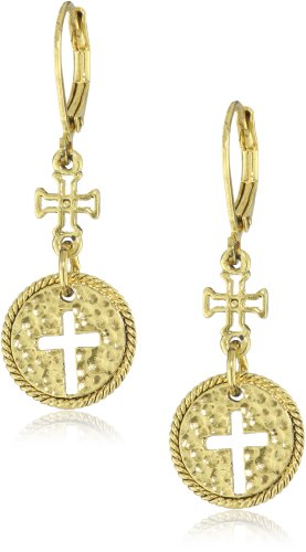 The Vatican Library Collection Gold-Tone Cross Round Drop Earrings