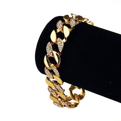 nyuk Hip Hop Bling Strass Oro 18K Bracciale in lega di zinco