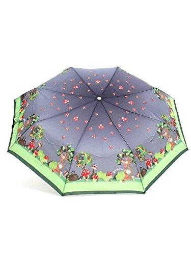 Braccialini ombrello donna, BC821 Bosco, ombrello mini tre sezioni antivento, tessuto pongee, colore grigio