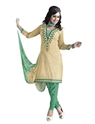 PShopee Cream & Green Jute Cotton Embroidery Unstitched Dress Material