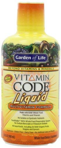 Garden of Life Vegetarian Multivitamin Supplement - Vitamin Code Liquid Raw Whole Food Vitamin, No Preservatives, Orange Mango, 30oz LIquid (Liquid Organic Vitamins compare prices)